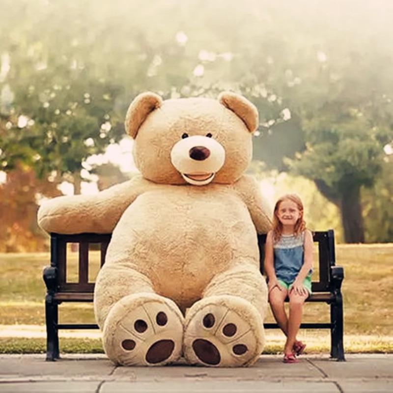 1pc tamanho enorme 260cm americano gigante urso pele, teddy bear casaco, boa qualidade factary preço brinquedos macios para meninas presente popular