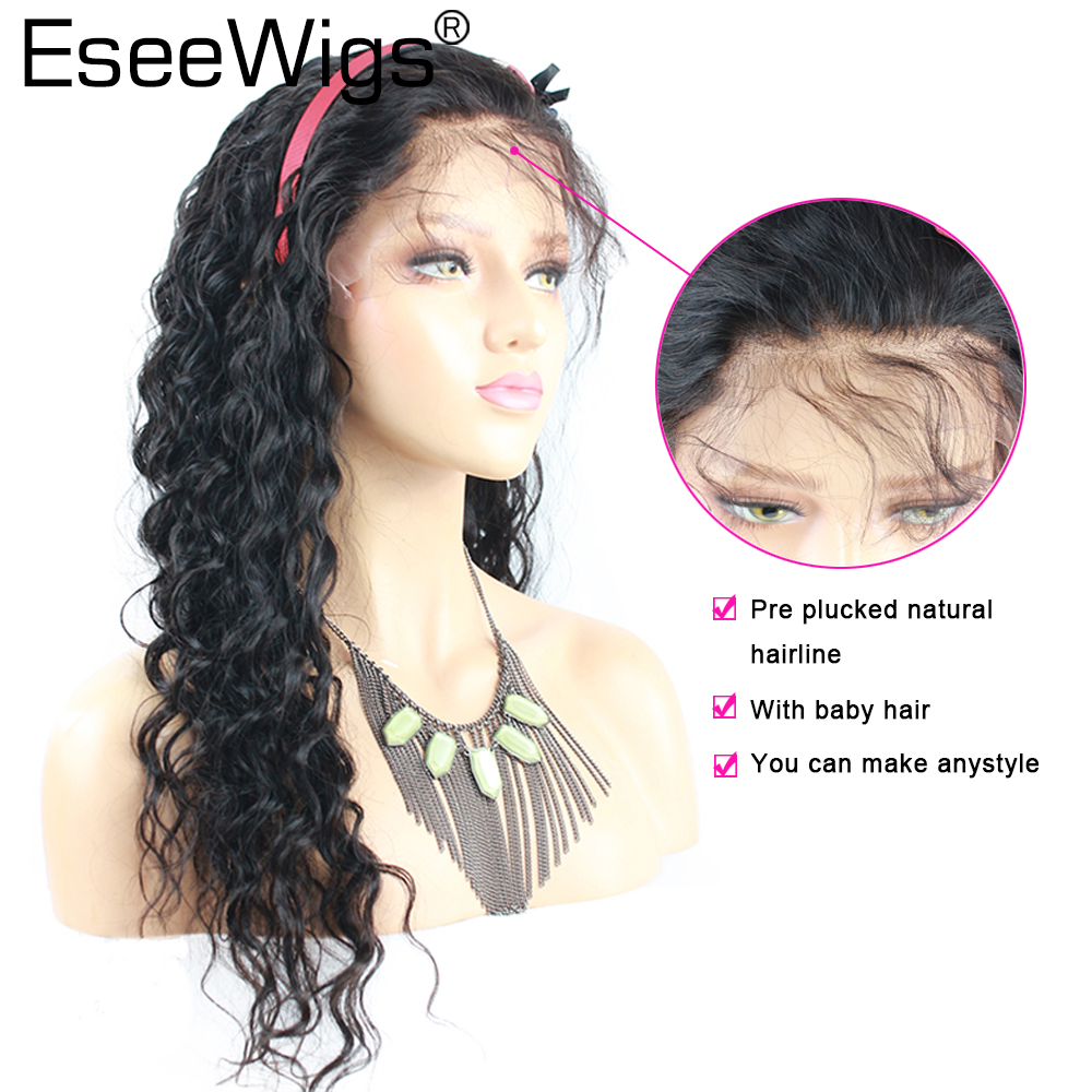 Eseewigs Deep Wave Full Lace Wig Human Hair With Baby Hair For Black Women Pre Plucked Brazilian Remy Hair Wigs Bleached Knots