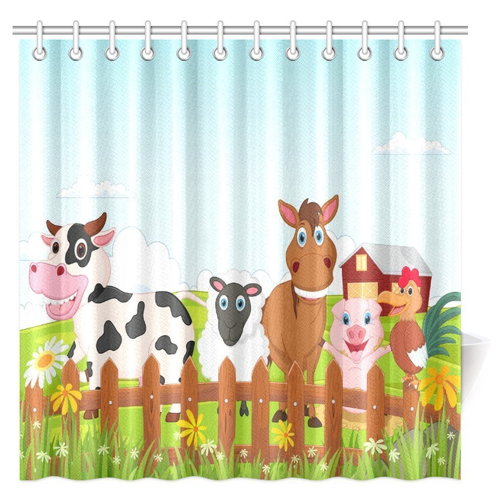 Aplysia Cartoon Decor Shower Curtain Happy Farm Animal Collection Fabric Bathroom Set 72 X Inches In Curtains From Home