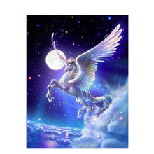 Diamond Painting Cartoon Fantasy White Flying Horse Full 5D Diy Embroidery Home Decoration.Custom Photo