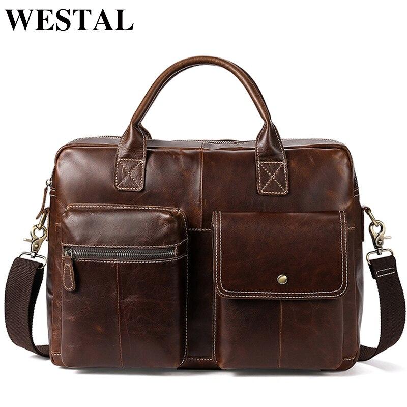 WESTAL мужской портфель s для юриста из натуральной кожи сумка-мессенджер мужская кожаная сумка для ноутбука 14 компьютерные сумки портфель офи...