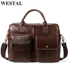 2e6fb167acf62 WESTAL الرجال حقائب ل المحامي جلد طبيعي حقيبة ساعي بريد للرجال جلدية محمول  14 حقائب كمبيوتر حقيبة حقيبة مكتب 7212
