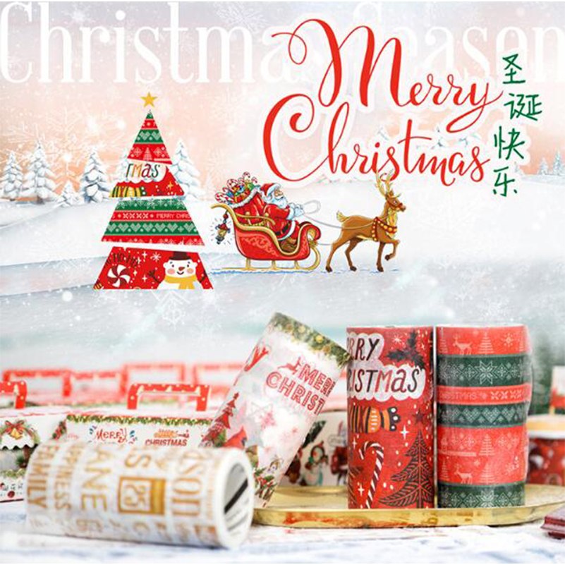 1Pc Christmas Tape set DIY Scrapbooking Sticker Decorative Adhesive Tape Washi Tape Masking Tape Width 9cm
