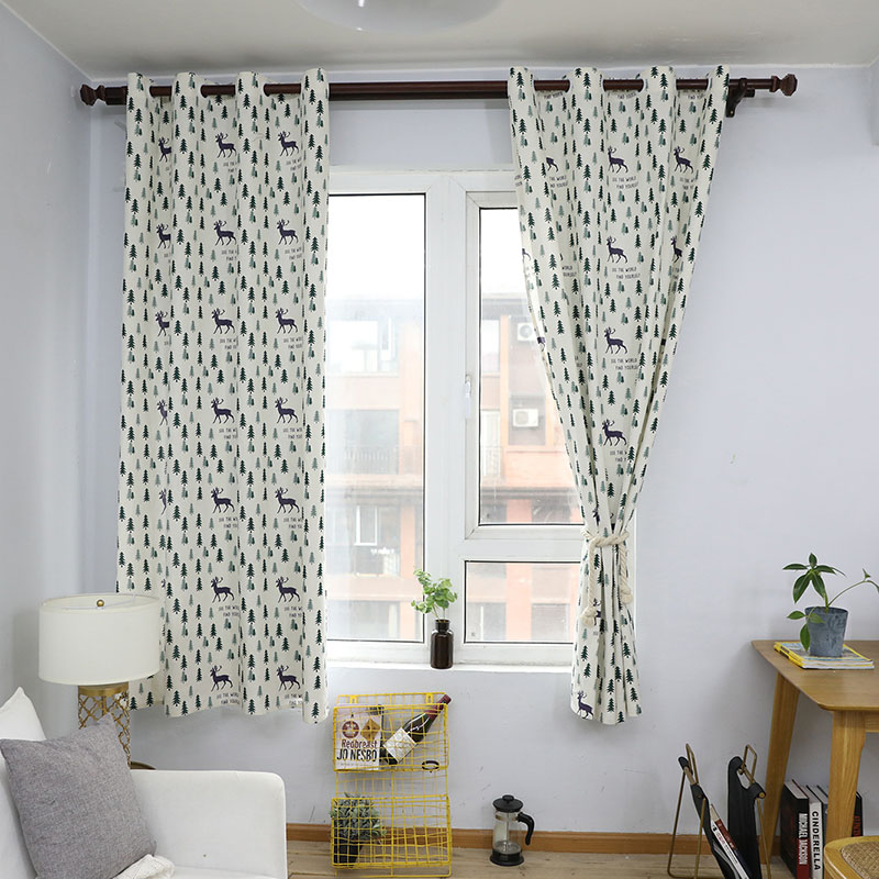 Image 3 - Nodic Style Animal Deer Tree Print Blackout Curtain Solid Cotton Window Curtain for Livingroom Bedroom Home Decoration cortina-in Curtains from Home & Garden