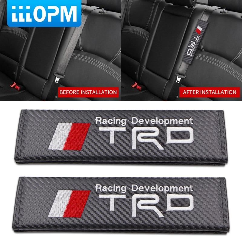 2Pcs Carbon Fiber Car Truck Seat Belt Cover Shoulder Cushions Safety Pads Black
