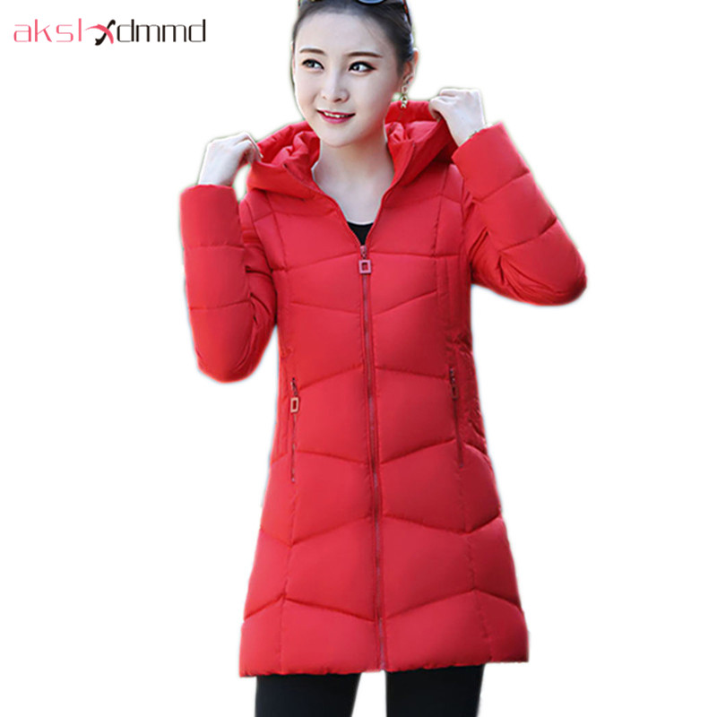 AKSLXDMMD Casual Women Winter Jacket 2017 New Slim Hooded Cotton Coat Female Plus Size Overcoat Student Parkas Mujer LH1181 akslxdmmd fashion casual winter thick hooded jacket 2017 new parka women parttern letters mid long coat female overcoat lh1227
