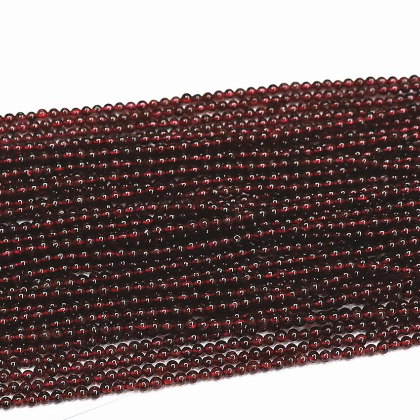 Kamień naturalny 2mm 3mm czerwony granat kamienne koraliki okrągłe luźne przekładki akcesoria koraliki kobiety moda elegancka biżuteria diy 15 cali B438