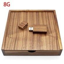 Орехового дерева коробка для фотоальбома USB Flash Drive 8 GB 16 ГБ, 32 ГБ, 64 ГБ фотографии свадебные устройства хранения USB2.0 Memory Stick