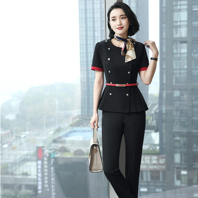 Novelty Black Fashion Summer Pantsuits 2 Piece With Jackets And Pants For Women Business Trousers Sets With Scarf And Belt