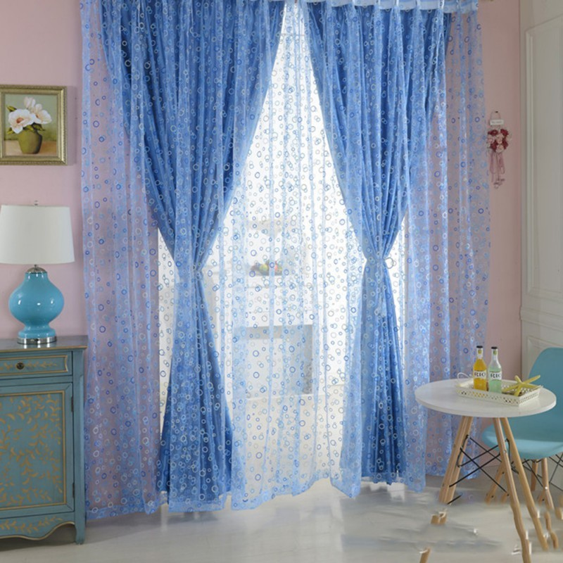 Curtain Chic Room Bubble Pattern Voile Window Curtains Sheer Panel Drape Scarf Curtains