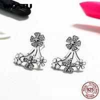 New Fashion 100 925 Sterling Silver Dazzling Flowers Stud Earring For Women Luxury Fine Jewelry Gift