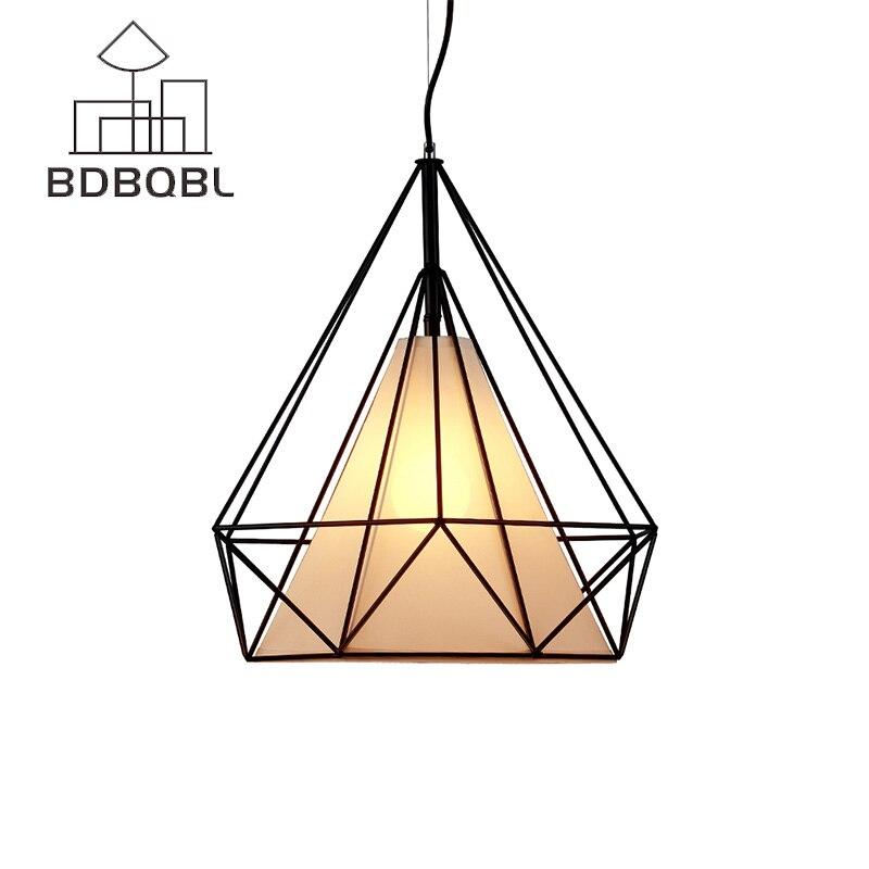 BDBQBL Modern Black birdcage pendant lights Iron minimalist Retro light Scandinavian LOFT pyramid lamp metal cage with LED Bulb