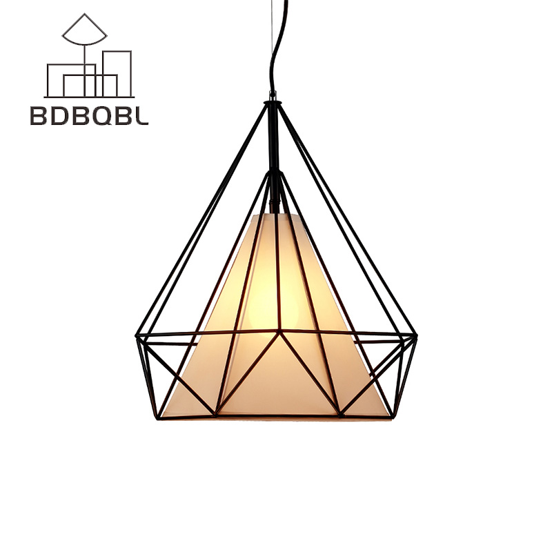 BDBQBL Modern Birdcage Pendant Lights Iron Minimalist Retro Pyramid Pendant Lamp Metal Cage Light Loft Hanglamp With LED Bulb