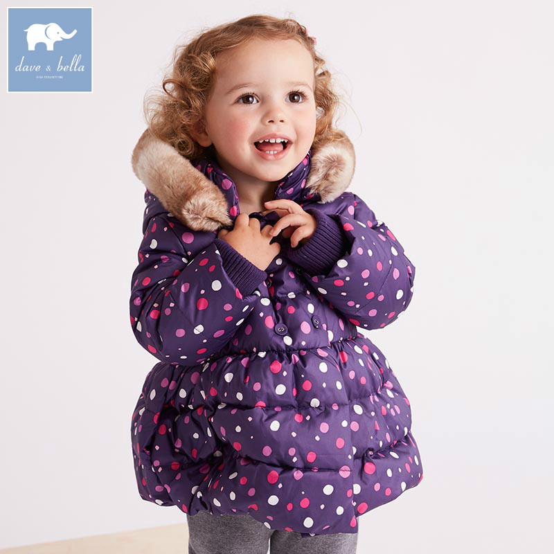Фото DB6318 dave bella winter baby girls down jacket children white duck down padding coat kids hooded color dots outerwear