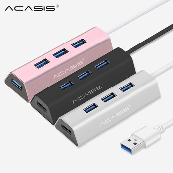 Acasis USB Hub 3.0 4 Port Multi USB 3.0 Hub Aluminum Hub USB 3,0 With Power Adapter USB Splitter for PC Computer Accessories#25