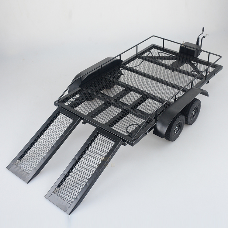 Free shipping 1/10 double axis all metal Trailer climbing car with flat trailer simulation big Trailer RC4WD D90 general purpose large detachable remote control trailer big size fun 1 28 multifuncional rc farm trailer tractor truck free shipping