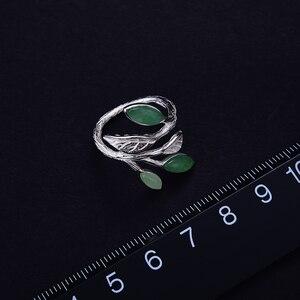 Image 3 - Lotus fun real 925 sterling silver anel aberto pedra natural design feito à mão jóias finas primavera no ar folhas anéis para mulher