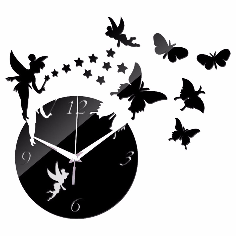 Creative Coffee Pot And Cup Butterfly Quartz Large Clock Mirror Wall Home Decor Clocks Sticker Silver Gold Black For Living Room
