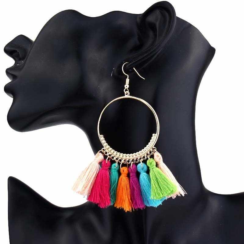 Mode bohème à la main gland longues boucles d'oreilles pour femmes fille Vintage déclaration ethnique grand rond Dangle boucle d'oreille bijoux B14