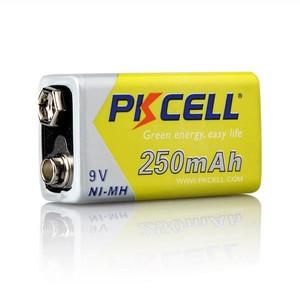 Image 3 - 2 قطعة * PKCELL 9 فولت بطارية ni mh 250mAh NIMH 6F22 9 فولت بطاريات قابلة للشحن Baterias ل ترمومتر إلكتروني الميكروفونات اللاسلكية