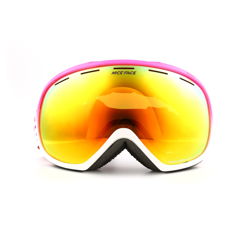 Free shipping Brand ski goggles 2 double lens UV400 anti fog large spherical glasses font b
