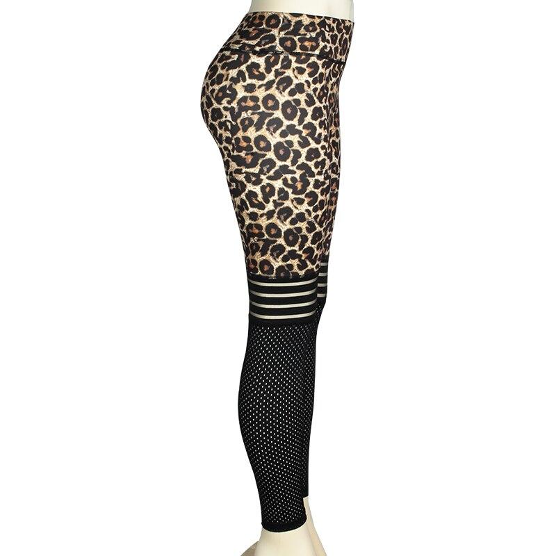 Normov  Leggings Women Sexy Leopard Leggings Fitness Women Mesh Patchwork Jegging High Waist Workout Leggings Gym Clothing 2019