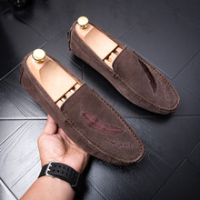 Men Loafers Moccasins Men Casual Shoes Suede Slip On Loafer Suede Shoes Men Flats Gommino Driving Shoes Hommes Chaussures Brown
