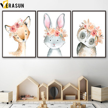 Raccoon Rabbit Fox Owl Deer Wall Art Canvas Painting Nordic Posters And Prints Nursery Animal Pictures Kids Baby Room Decor
