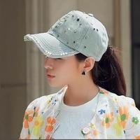 Для женщин Джинсовые Snapback шляпа леди Жан Hat точки детализации жемчуг ковбойская шляпа горный хрусталь Хрустальная корона Hat Casquette C101