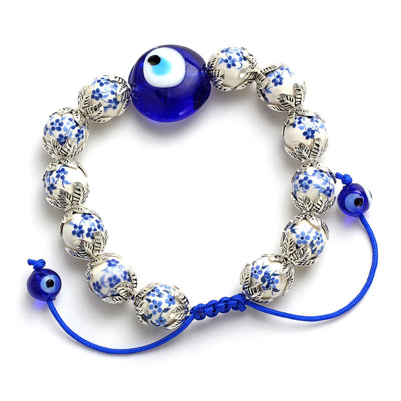 Lucky  Evil Eye Beads Blue and white porcelain Stone Metal-Containing Spacer Beads  Bracelets For Men Women Fashion Jewelry Evil