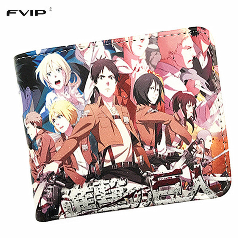 FVIP PU Short Wallet Anime Attack On Titan/Dragon Ball Z/Undertale Cartoon Wallet For Young Coin Purse With Card Holder 2015 new design womens wedges heels pumps fashion pointed toe wood heel single shoes large size thick heels ladies shoes 34 43