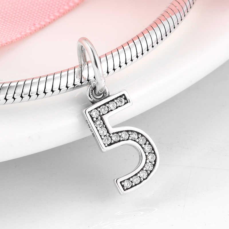 אותנטי 925 כסף סטרלינג מספר 5 קסמי תליוני ברור מעוקב Zirconia חרוזים Fit מקורי פנדורה צמידי כסף תכשיטים