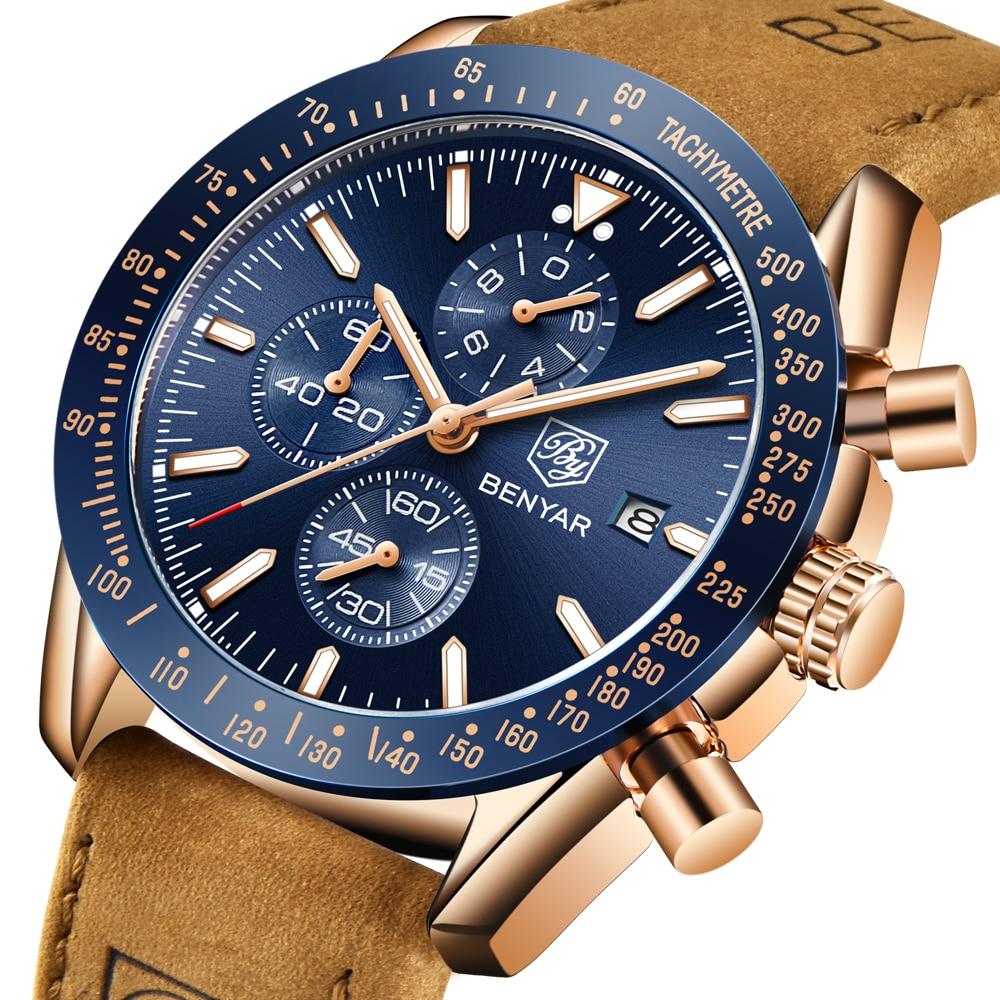 2018 BENYAR Mode Männer Quarz Militär Uhren Luxus Marke Chronograph Sport Uhr reloj hombre Männlichen Armbanduhr zegarek meski