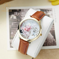 Miss Keke 3D Dial Flower Girls Watches Cartoon Quartz Gold Watch Young Women Leather Casual Waterproof Wristwatch 1 reloj mujer