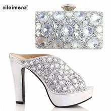 635377c65d Neue Silber Afrikanische Schuhe und Passende Tasche Nigerian Frauen Schuhe  und Tasche Set Damen Italienische Schuhe