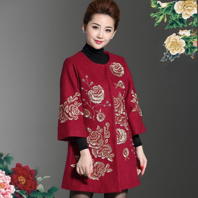 Automne hiver moyen âge femmes Long laine manteaux 2018 broderie laine manteau femmes cachemire grande taille manteau femme pardessus W116