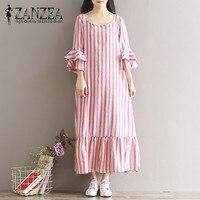 Hot ZANZEA O Neck Three Quarter Sleeve Stripe Long Dress 2017 Women Casual Ruffle Hem Linen
