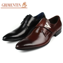 GRIMENTIN luxury Italian vintage men's dress shoes genuine leather black business party male shoes flats for wedding business