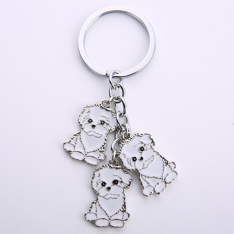 Cartoon Bichon Frise Dog Keychain Cute Animal Key Chain car Keyring Women Bag pendant Jewelry For Women