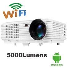 5000 lúmenes Quad core Android 4.4 WiFi Bluetooth 1080 P pantalla de Sincronización con el teléfono Inalámbrico soporte full hd TV 3D proyector beamer