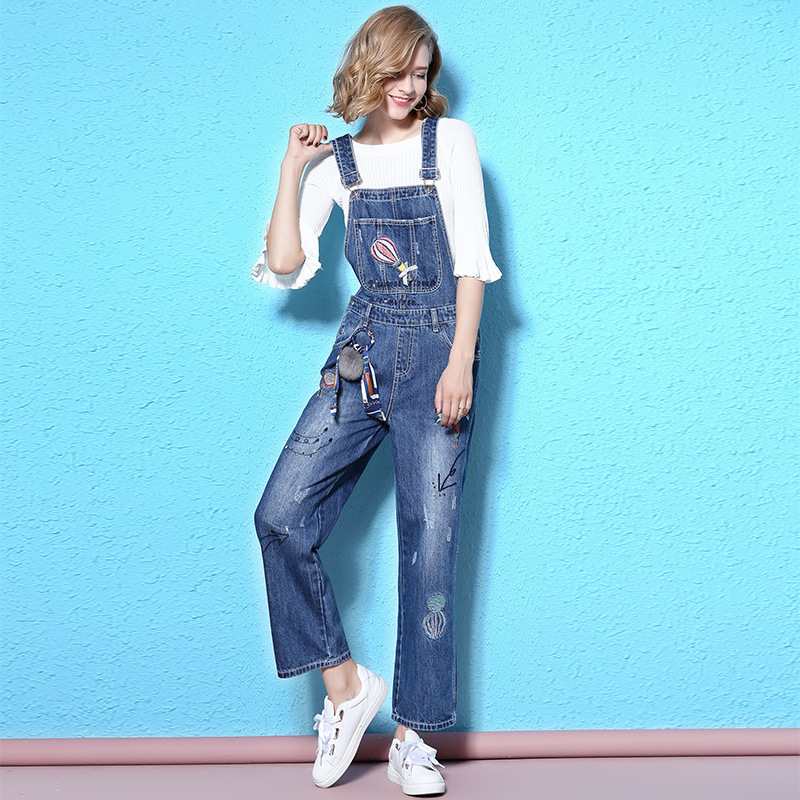 2017 Spring And Autumn  new fashoned denim salopettes woman thin high waist school wind jeans woman overalls NW17C1300 colorful brand large size jeans xl 5xl 2017 spring and summer new hole jeans nine pants high waist was thin slim pants