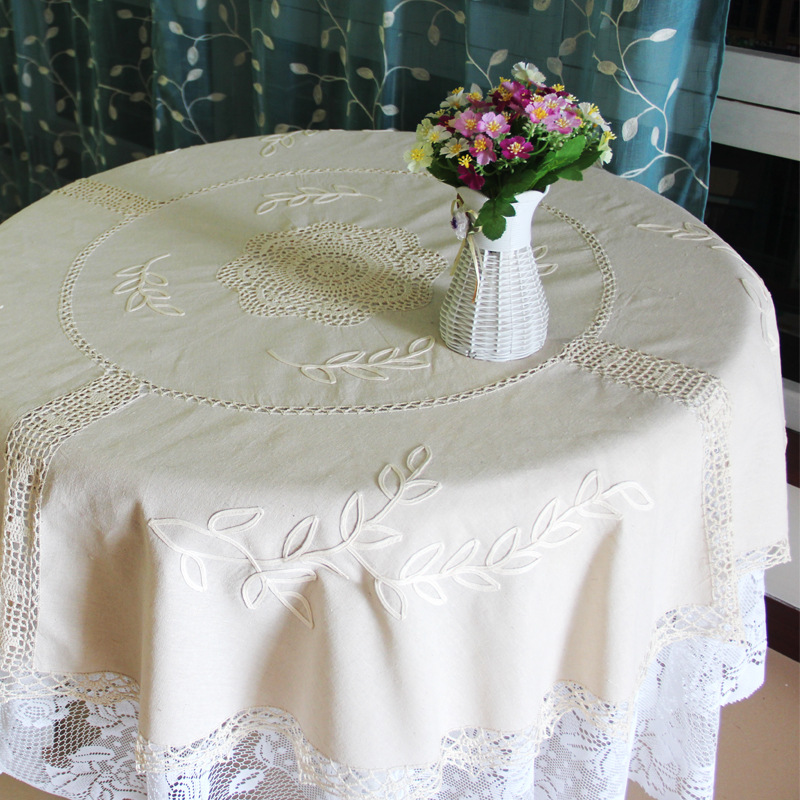 Top quality Round Tablecloth European Style Old Coarse Cotton And Linen Wholesale Handmade Crochet Crafts Table Cloth