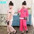 A15 crianças meninas roupas de primavera 2017 crianças meninas do verão ternos esportivos definido 2 peça roupa dos miúdos define twinset tamanho 6 7 8 10 11 ano