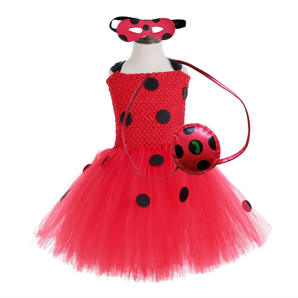 Red Ladybug Party Tutu Dress Kids Clothes Spring Knee Length Black Dot Dress Halloween Ladybug Costume with Ladybug Mask Bag 12Y (1)