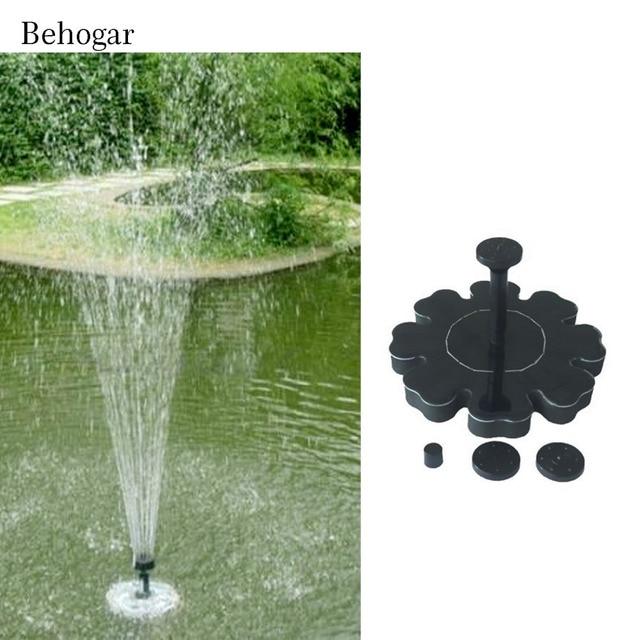 Behogar Outdoor Flower Shape Solar Powered Water Floating Fountain Pump For  Bird Bath Birdbath Home Pool
