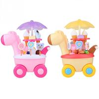 Mini Trolley Girl Candy Cart Toy Cute Giraffe Ice Cream Shop Smooth Children Play House With Lights Music Storage Baby Toys