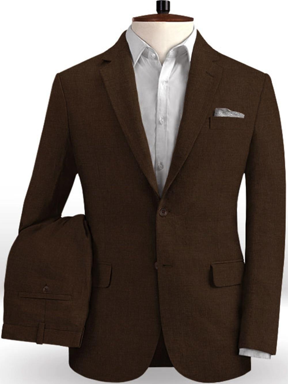 Brown Linen Cotton Suits Men Summer Tuxedo Simple Beach Jacket Custom 2 Piece