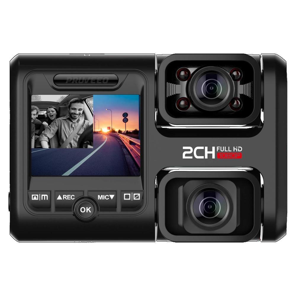 Caméra de tableau de bord Pruveeo D30H avec Vision nocturne infrarouge et WiFi, double avant et intérieur 1080 P, caméra de tableau de bord pour voitures taxe sur les camions Uber Lyft