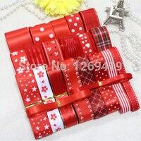 Free Shipping 23 Yards 21 Styles Red Color Bowknot Hairpin DIY Manual Material Grosgrain Ribbon Whorl