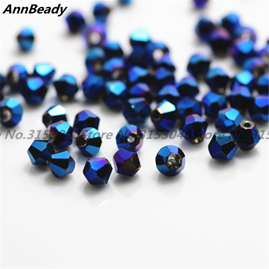 100pcs Plated Blue Color 4mm Bicone Crystal Beads Glass Beads Loose Spacer Beads DIY Jewelry Making